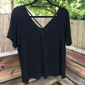 Missguided Cross-Front Black Tee